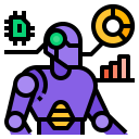 Sentient robot surrounded by charts