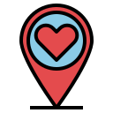 Map pin with a heart